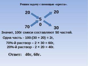 Решим задачу с помощью «креста». 20 70 50 20 30 Значит, 100г смеси составляют