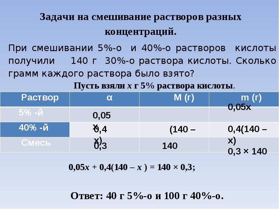 Задачи на смешивание растворов разных концентраций. При смешивании 5%-о и 40%...