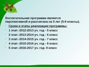 Воспитательная программа является перспективной и рассчитана на 5 лет (5-9 кл