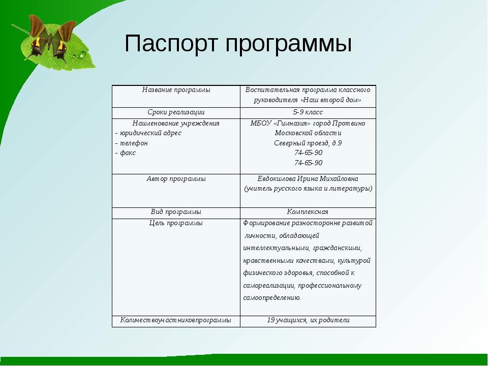 Паспорт программы Названиепрограммы Воспитательная программа классного руков...