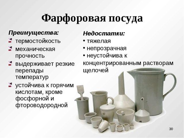 Фарфоровая посуда Преимущества: термостойкость механическая прочность выдержи...