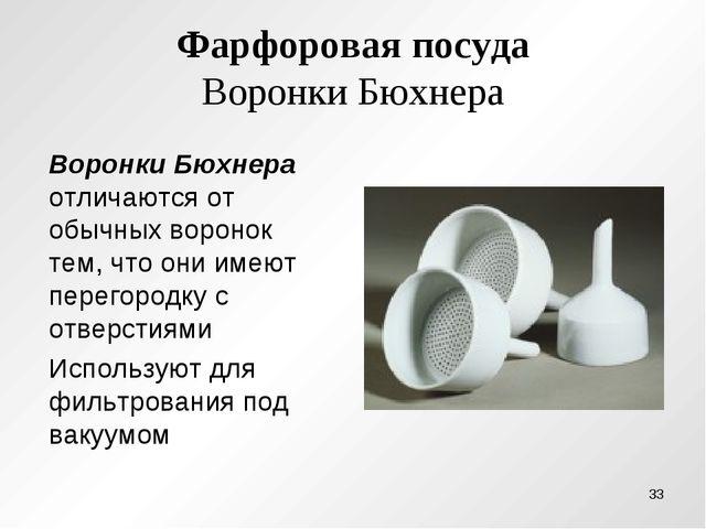 Фарфоровая посуда Воронки Бюхнера Воронки Бюхнера отличаются от обычных ворон...
