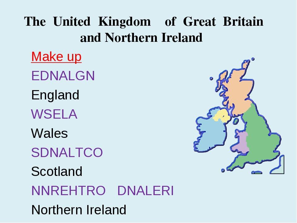 Make up EDNALGN England WSELA Wales SDNALTCO Scotland NNREHTRO DNALERI Northe...
