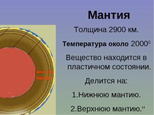 Ишмуратова Лилия Маликовна * Мантия Толщина 2900 км. Температура около 20000