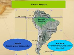 Южная Америка Восток Господствуют равнины и нагорья Запад Протянулись горы А