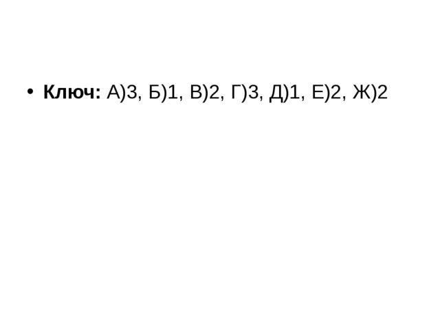 Ключ:А)3, Б)1, В)2, Г)3, Д)1, Е)2, Ж)2