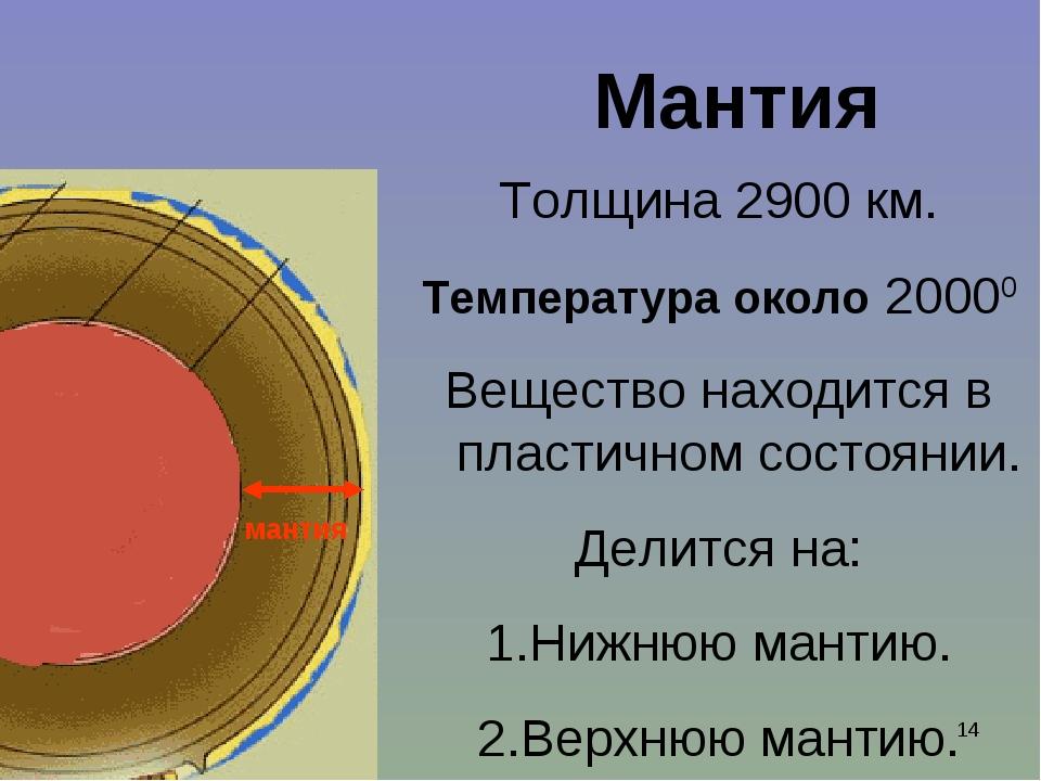 Ишмуратова Лилия Маликовна * Мантия Толщина 2900 км. Температура около 20000...