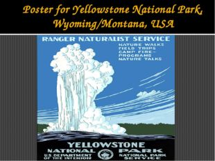 Poster for Yellowstone National Park, Wyoming/Montana, USA