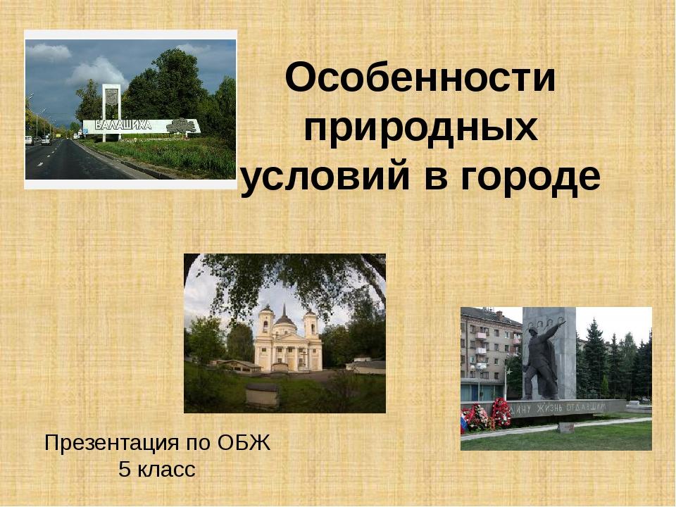 Особенности природных условий в городе Презентация по ОБЖ 5 класс