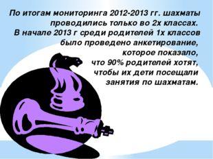 По итогам мониторинга 2012-2013 гг. шахматы проводились только во 2х классах.