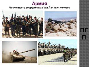 Армия ПГП Численностьвооруженныхсил ≈54тыс.человек