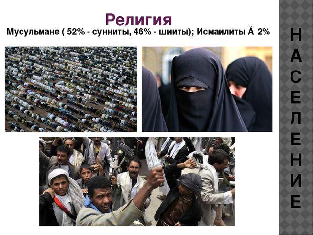 Религия Мусульмане ( 52% - сунниты, 46% - шииты); Исмаилиты ≈ 2% НАСЕЛЕНИЕ