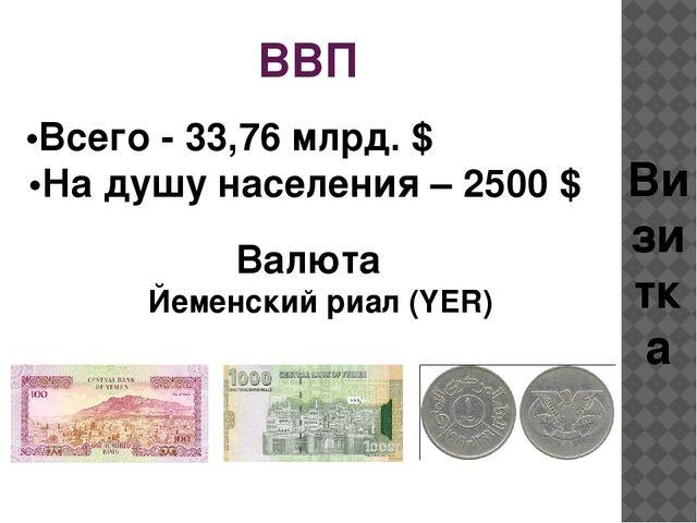 ВВП •Всего - 33,76 млрд. $  •На душу населения – 2500 $ Валюта Визитка Йем...