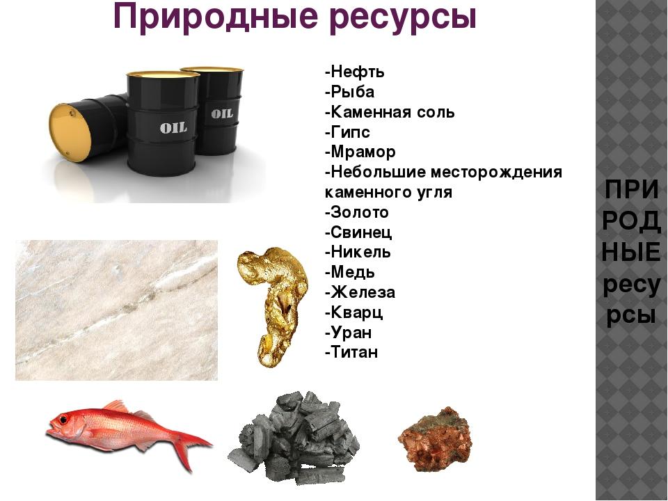Природные ресурсы ПРИРОДНЫЕ ресурсы -Нефть -Рыба -Каменная соль -Гипс -Мрамор...