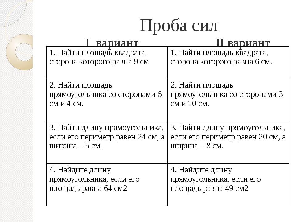 Проба сил I вариант II вариант 1.Найти площадь квадрата, сторона которого ра...
