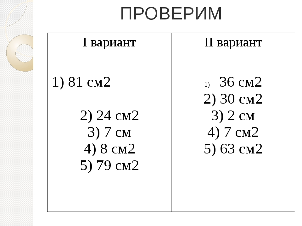 ПРОВЕРИМ Iвариант IIвариант 1)81 см2 2) 24 см2 3) 7 см 4) 8 см2 5) 79 см2 36с...
