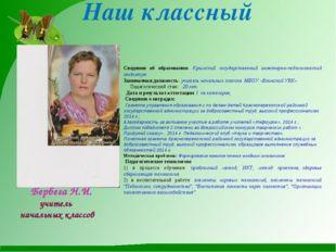 Наш классный Сведения об образовании: Крымский государственный инженерно-педа