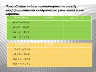 Попробуйте найти закономерность между коэффициентами квадратного уравнения и