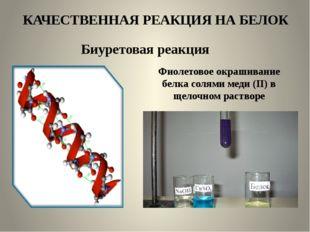 КАЧЕСТВЕННАЯ РЕАКЦИЯ НА БЕЛОК Биуретовая реакция Фиолетовое окрашивание белка