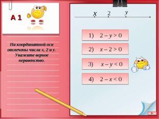 На координатной оси отмечены числа x, 2 и y. Укажите верное неравенство. 1) 2