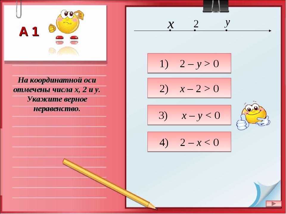 На координатной оси отмечены числа x, 2 и y. Укажите верное неравенство. 1) 2...
