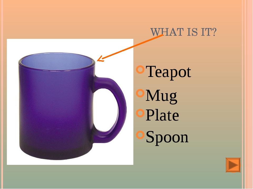 WHAT IS IT? Teapot Mug Plate Spoon