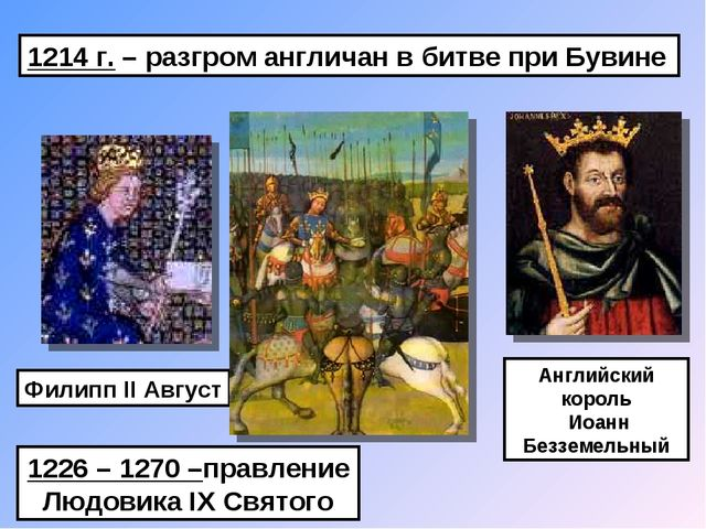 1214 г. – разгром англичан в битве при Бувине Филипп II Август Английский кор...