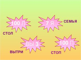 100 Л 7 Я ВЫ 3 100 П СТОЛ СЕМЬЯ ВЫТРИ СТОП