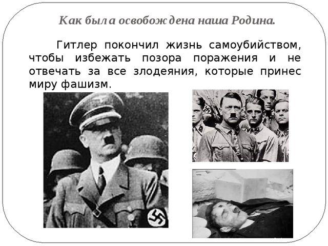 Как была освобождена наша Родина. Гитлер покончил жизнь самоубийством, чтобы...