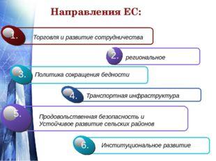 Направления ЕС: Торговля и развитие сотрудничества 1. региональное 2. Политик