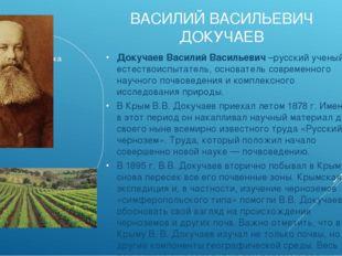 ВАСИЛИЙ ВАСИЛЬЕВИЧ ДОКУЧАЕВ Докучаев Василий Васильевич–русский ученый-естес