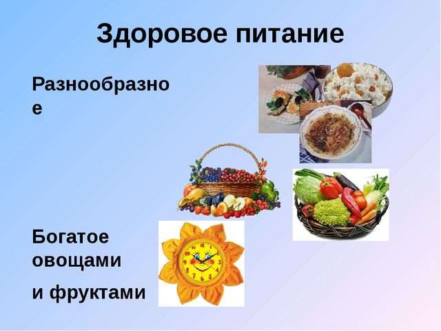 Здоровое питание Разнообразное Богатое овощами и фруктами Регулярное