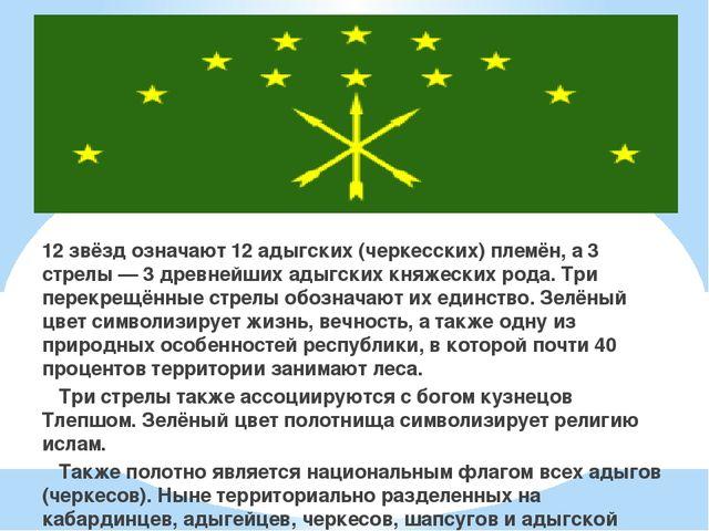 12 звёзд означают 12 адыгских (черкесских) племён, а 3 стрелы — 3 древнейших...