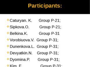Participants: Caturyan. K. Group P-21; Sipkova.O. Group P-21; Belkina.K. Grou