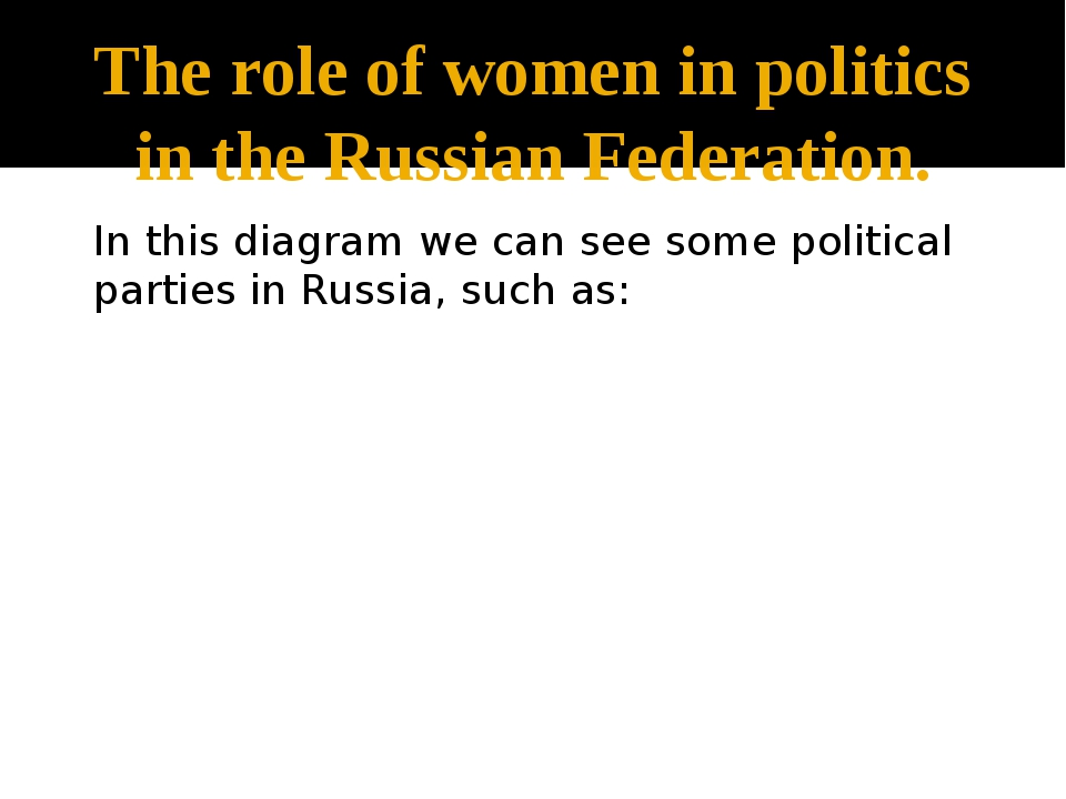 The role of women in politics in the Russian Federation. In this diagram we c...