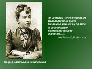 «В истории человечества до Ковалевской не было женщины, равной ей по силе и