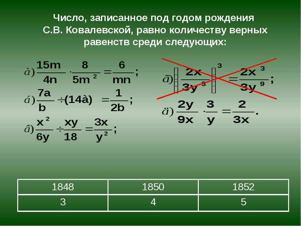Число, записанное под годом рождения С.В. Ковалевской, равно количеству верны...