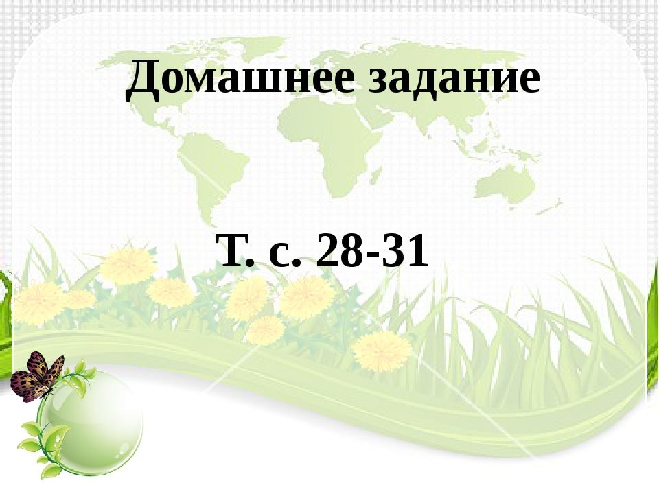 Домашнее задание Т. с. 28-31