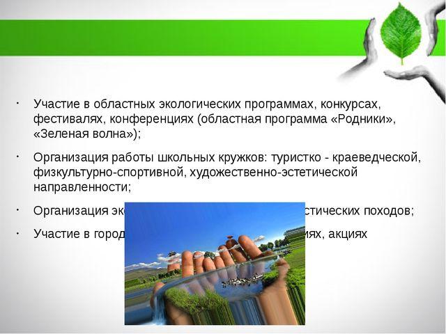 Участие в областных экологических программах, конкурсах, фестивалях, конфере...