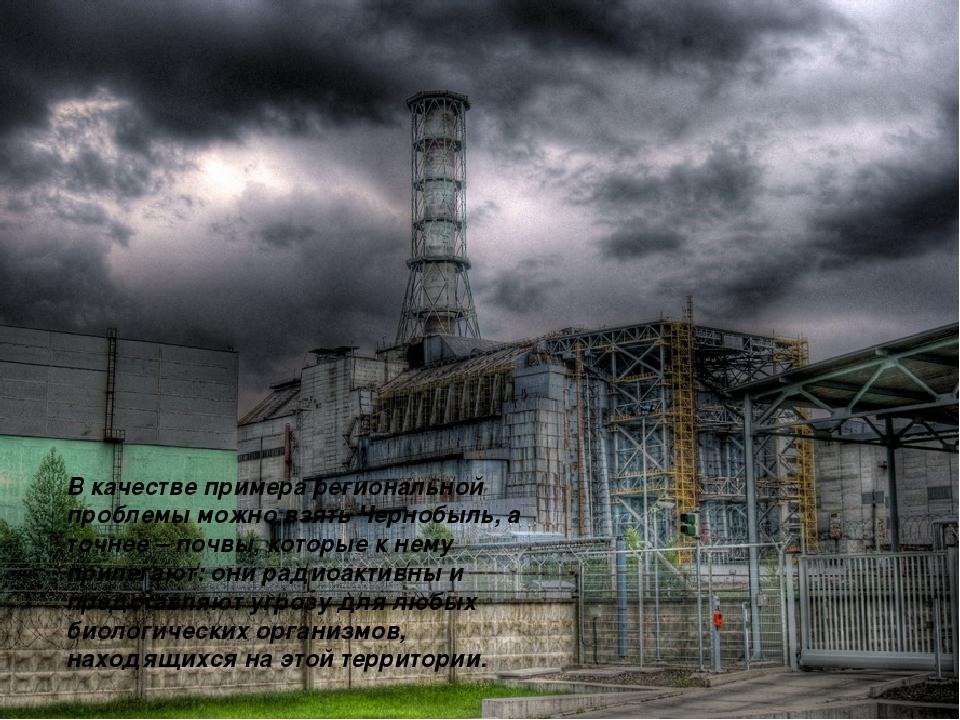 Проблема экологии В качестве примера региональной проблемы можно взять Черноб...