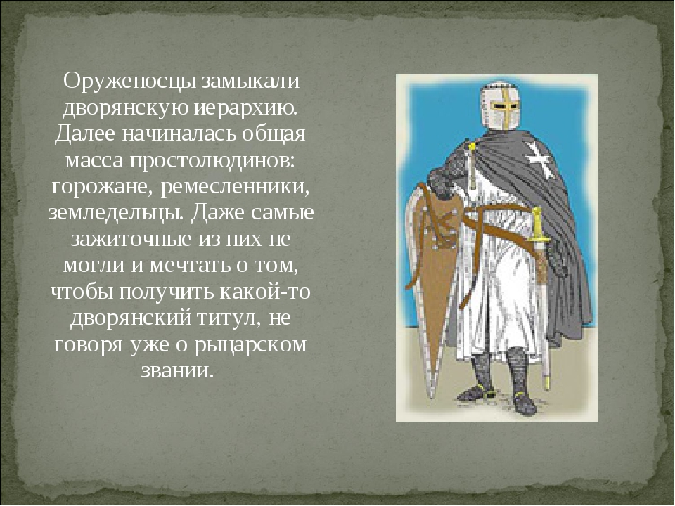 Оруженосцы замыкали дворянскую иерархию. Далее начиналась общая масса простол...