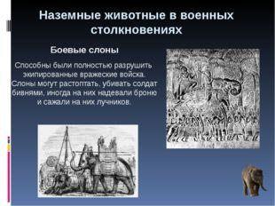 Наземные животные в военных столкновениях Боевые слоны Способны были полность