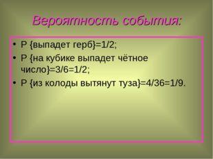 Вероятность события: Р {выпадет герб}=1/2; Р {на кубике выпадет чётное число}