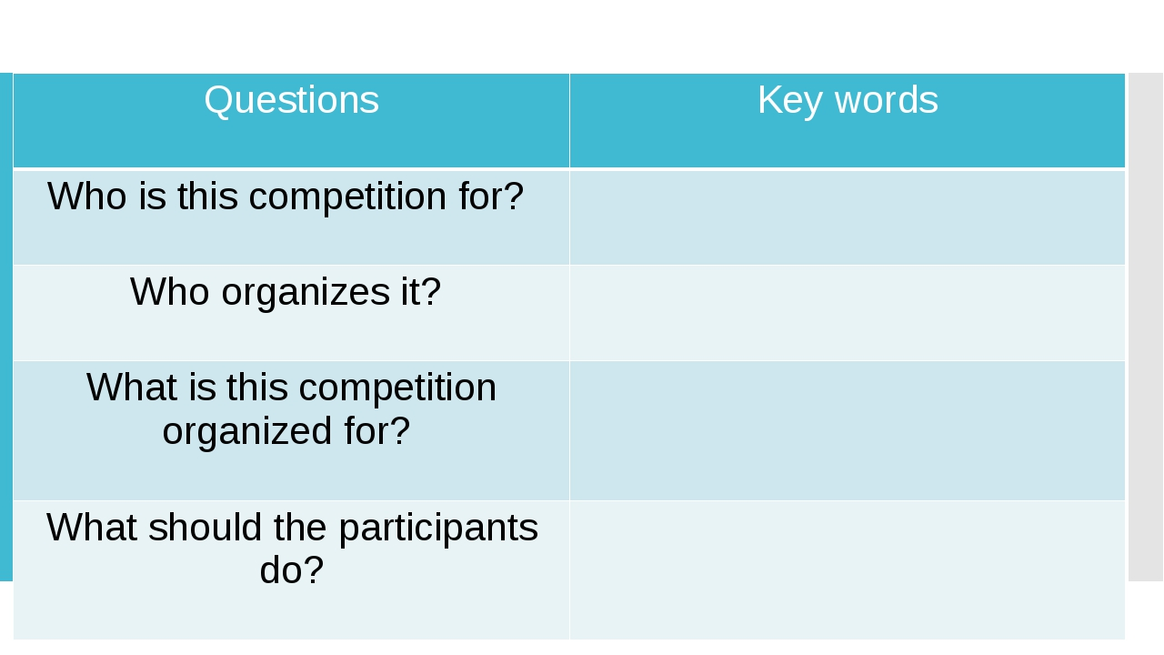 Questions Key words Who is this competition for? Who organizes it? What is t...