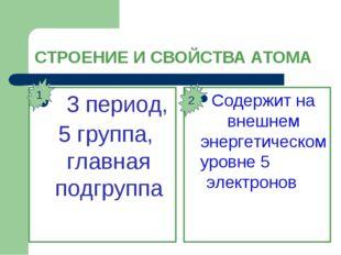 СТРОЕНИЕ И СВОЙСТВА АТОМА 3 период, 5 группа, главная подгруппа Содержит на в
