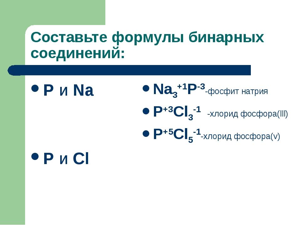 Составьте формулы бинарных соединений: P и Na P и Cl Na3+1P-3-фосфит натрия P...