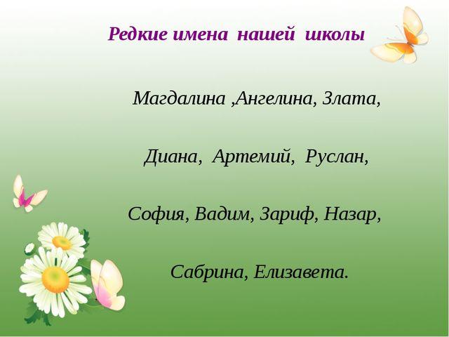 Редкие имена нашей школы Магдалина ,Ангелина, Злата, Диана, Артемий, Руслан,...