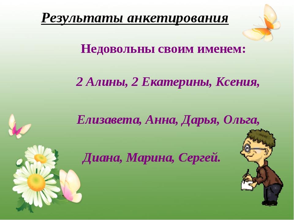 Недовольны своим именем: 2 Алины, 2 Екатерины, Ксения, Елизавета, Анна, Дарь...