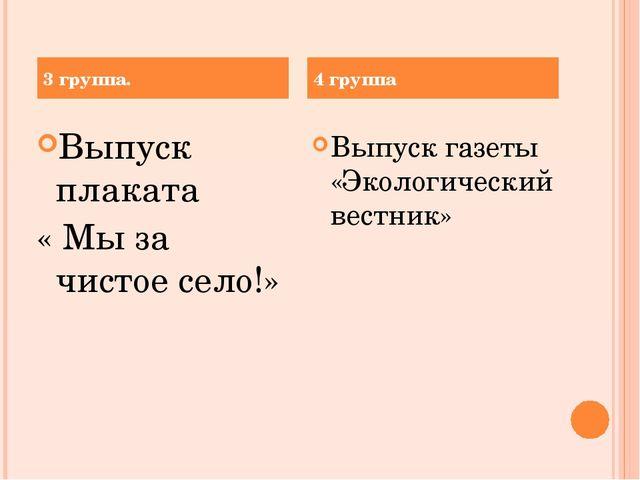 Выпуск плаката « Мы за чистое село!» Выпуск газеты «Экологический вестник» 3...