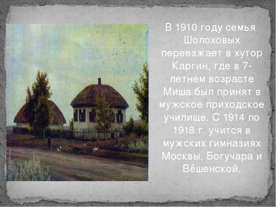 В 1910 году семья Шолоховых переезжает в хутор Каргин, где в 7-летнем возрас...
